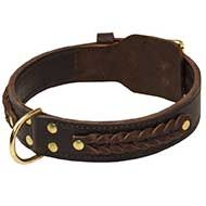 Super Wide Leather Siberian Husky Collar with Beautiful Braids