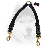The Finest Braided Leather Siberian Husky Coupler for Walking 2 Dogs