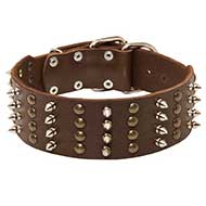 Extra Wide Leather Siberian Husky Collar with Studs and Spikes