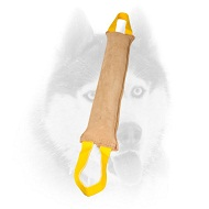 Dog bite tug made of leather with handles for Siberian Husky