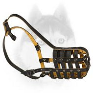 Super Light Weight Leather Muzzle for Siberian Husky