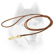Handcrafted dog shows round leather leash for Siberian Husky