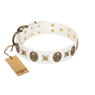 """Fads and Fancies"" FDT Artisan White Leather Siberian Husky Collar with Stars and Skulls"