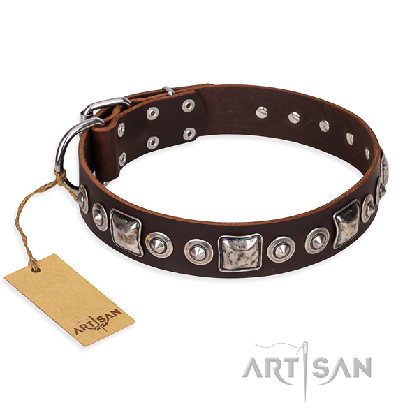Genuine leather dog collar made of top notch material with corrosion resistant traditional buckle