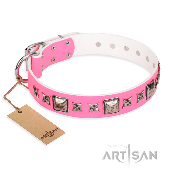 Genuine leather dog collar made of high quality material with corrosion proof fittings