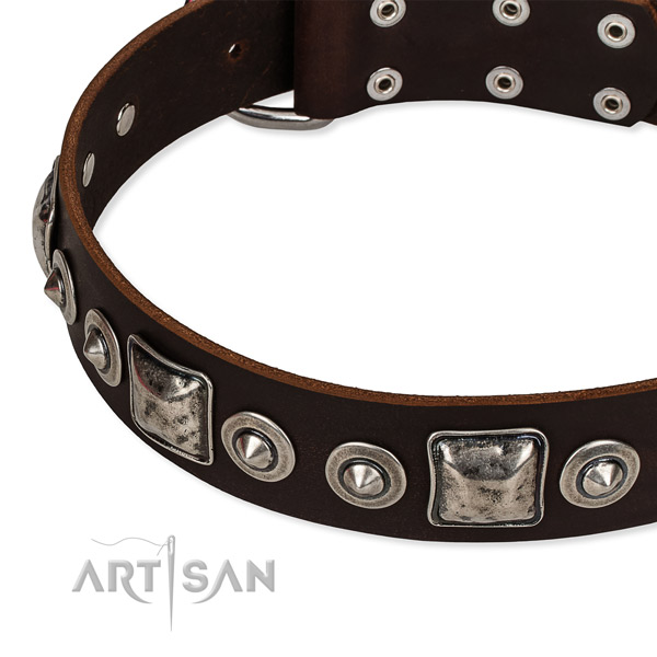 Top notch full grain leather dog collar made for your handsome doggie
