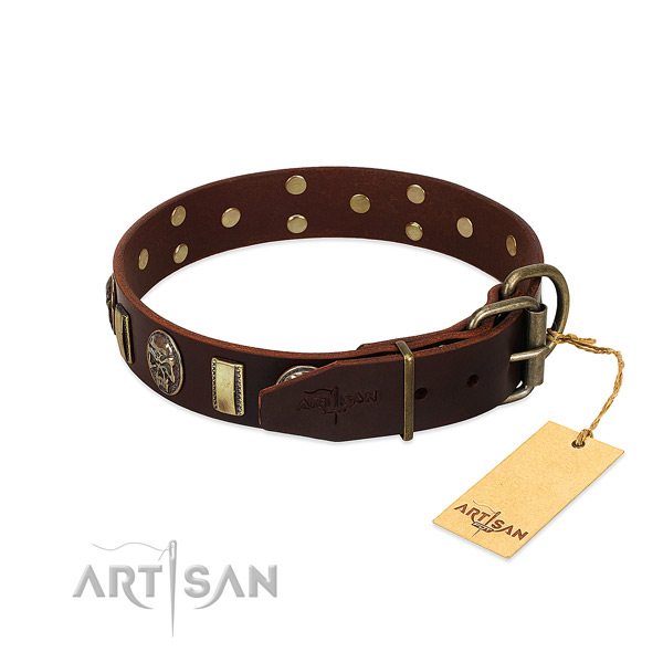 Leather dog collar with durable D-ring and studs