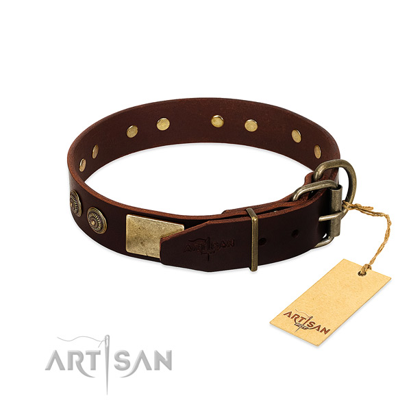 Corrosion proof decorations on full grain genuine leather dog collar for your dog