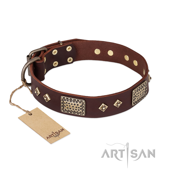 Fine quality full grain natural leather dog collar for everyday use