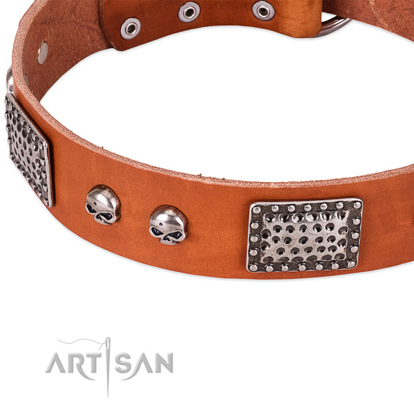 Rust resistant fittings on natural genuine leather dog collar for your dog