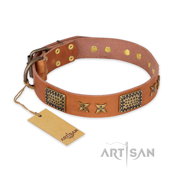 Exceptional natural genuine leather dog collar with durable D-ring