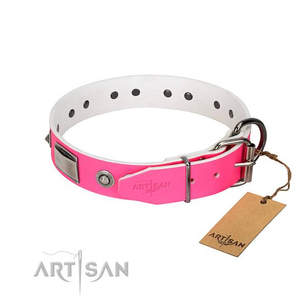 Exceptional full grain genuine leather collar with decorations for your four-legged friend
