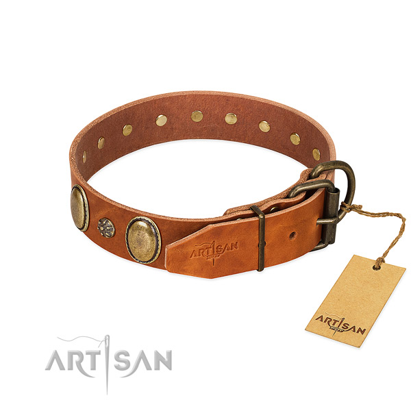 Handy use reliable full grain genuine leather dog collar