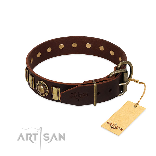 Fashionable full grain natural leather dog collar with rust-proof fittings