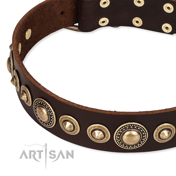 Soft full grain natural leather dog collar crafted for your lovely pet