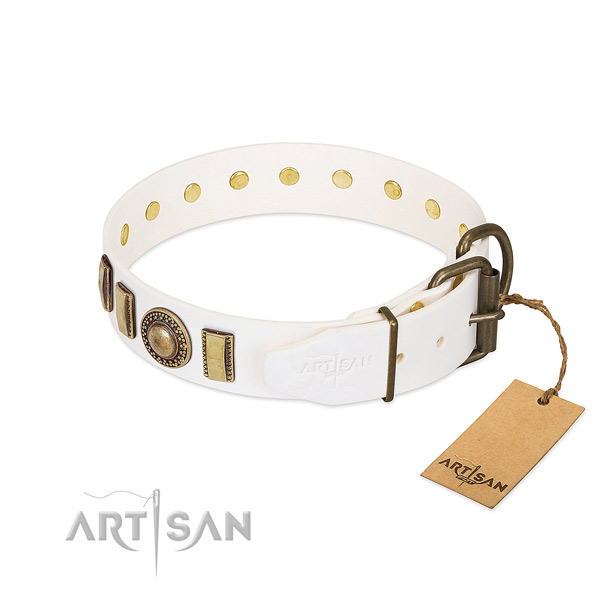 Designer natural leather dog collar with durable D-ring
