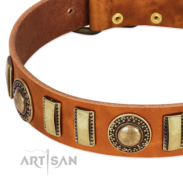Best quality genuine leather dog collar with rust-proof fittings