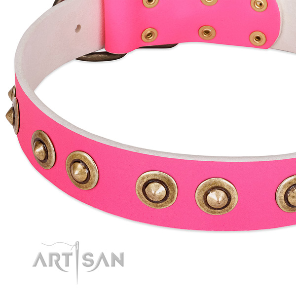 Rust resistant fittings on leather dog collar for your doggie