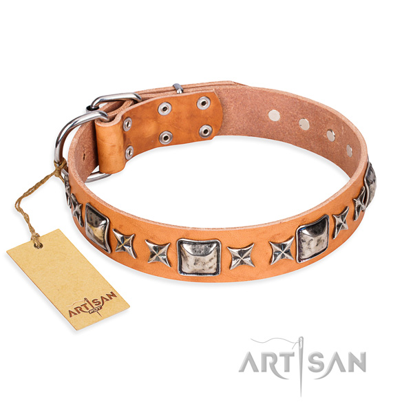 Easy wearing dog collar of strong full grain genuine leather with embellishments