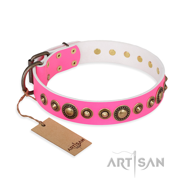 Flexible full grain leather collar handcrafted for your pet