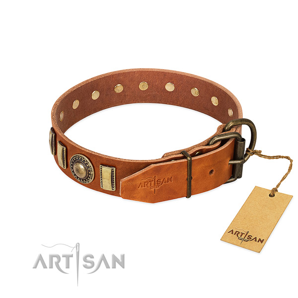 Comfortable natural leather dog collar with rust-proof fittings