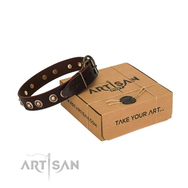 Corrosion resistant hardware on full grain natural leather dog collar for your four-legged friend