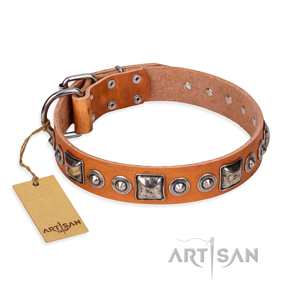 Natural genuine leather dog collar made of soft material with rust resistant buckle