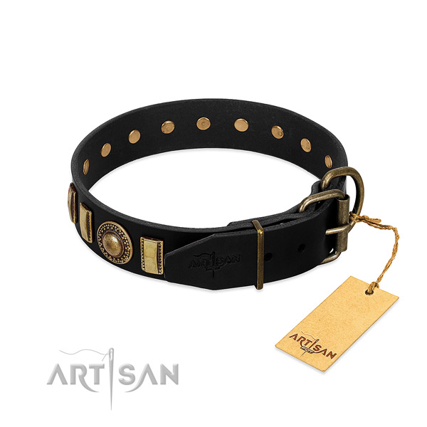 Flexible genuine leather dog collar with embellishments