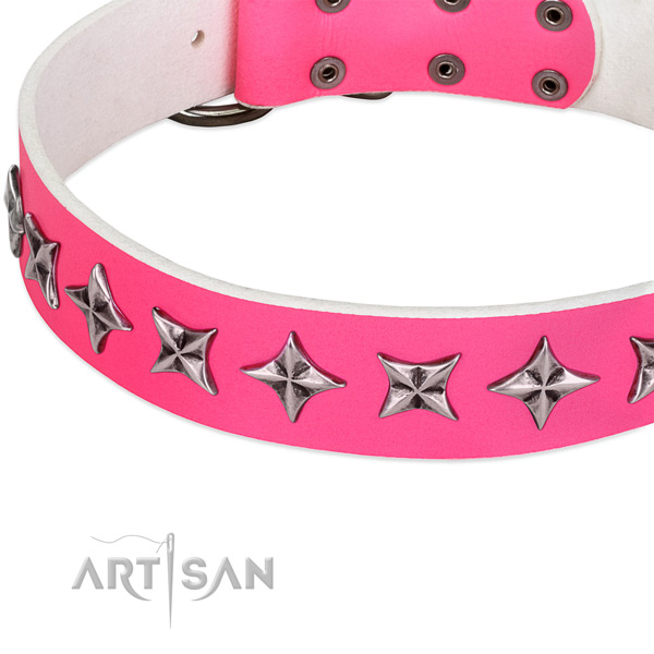 Handy use studded dog collar of durable full grain natural leather