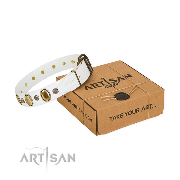 Comfortable wearing top rate natural genuine leather dog collar with adornments