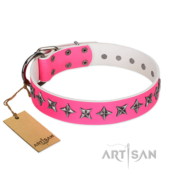Best quality leather dog collar with unique adornments