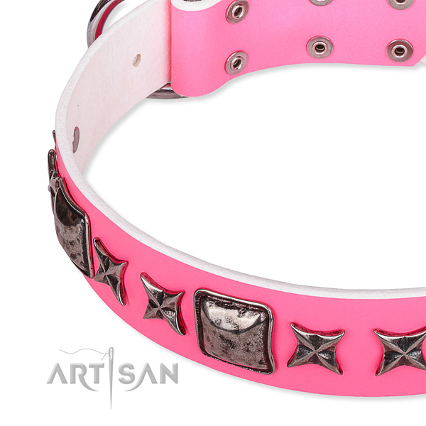 Daily use decorated dog collar of top quality full grain genuine leather