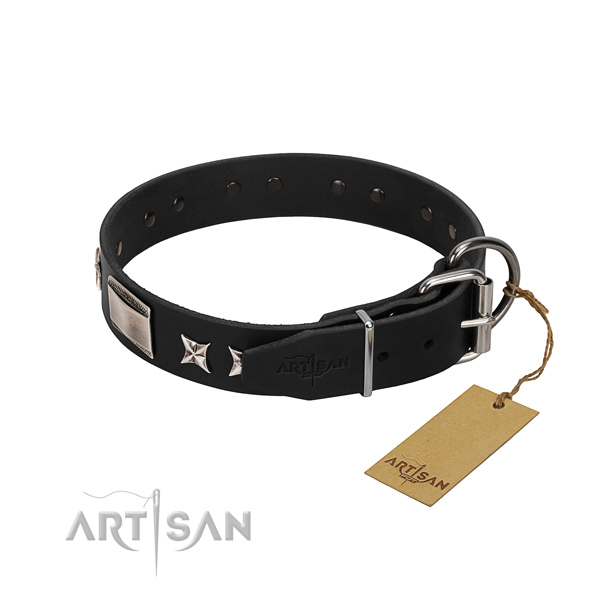 Soft to touch leather dog collar with rust resistant traditional buckle