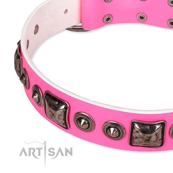 Gentle to touch full grain genuine leather dog collar crafted for your attractive dog