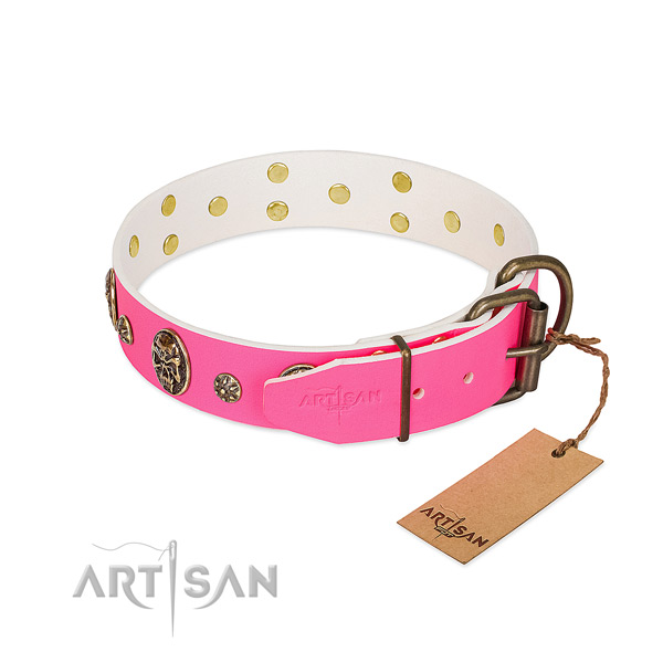 Strong D-ring on full grain genuine leather collar for stylish walking your doggie
