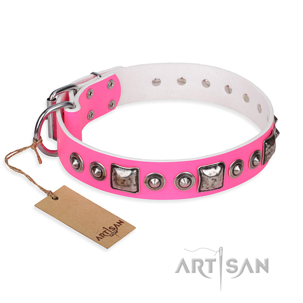 Full grain leather dog collar made of top notch material with rust resistant hardware