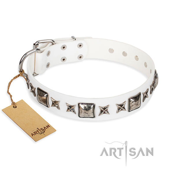 Full grain leather dog collar made of soft to touch material with rust-proof D-ring