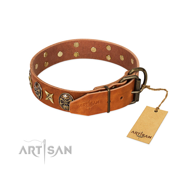 Full grain leather dog collar with corrosion resistant buckle and decorations