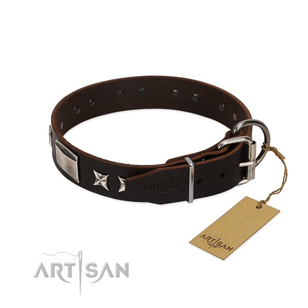 Fine quality collar of full grain natural leather for your beautiful pet