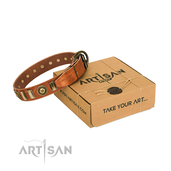 Gentle to touch genuine leather dog collar with reliable D-ring