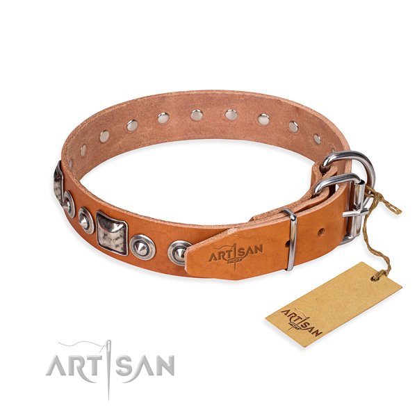 Top notch full grain natural leather dog collar made for daily use