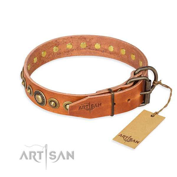 Durable full grain genuine leather dog collar created for everyday use