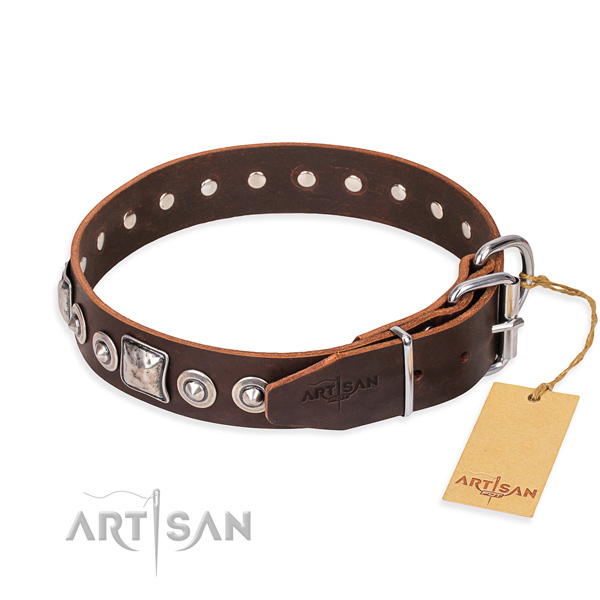 Full grain leather dog collar made of quality material with corrosion resistant decorations