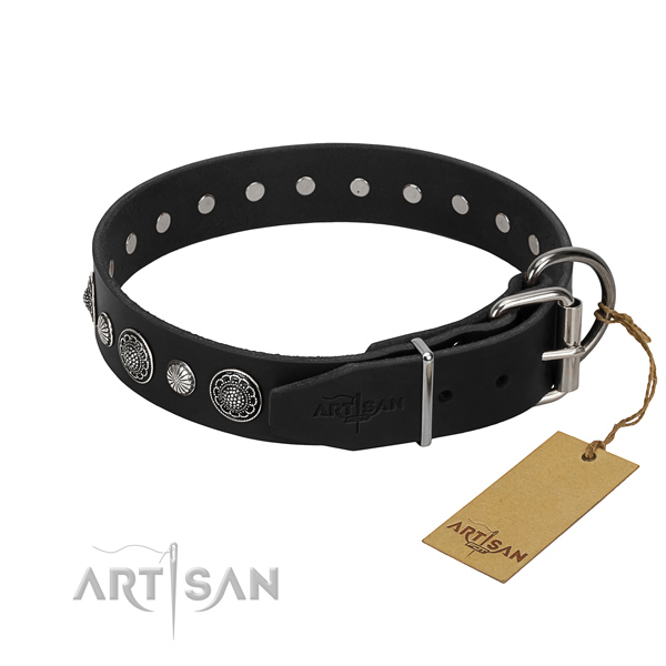 Best quality full grain genuine leather dog collar with extraordinary embellishments