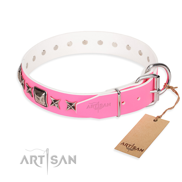Best quality studded dog collar of full grain natural leather