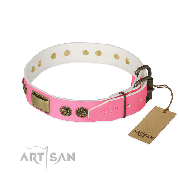 Rust-proof hardware on comfortable wearing dog collar