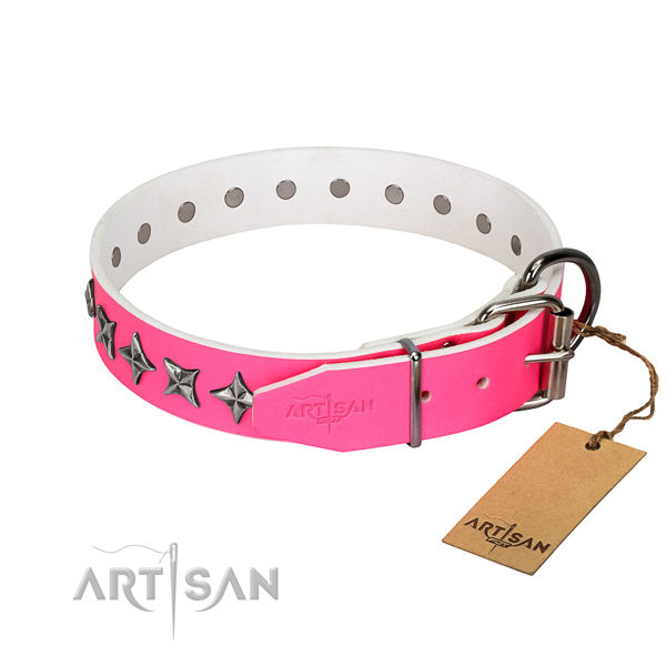 Best quality full grain genuine leather dog collar with inimitable adornments