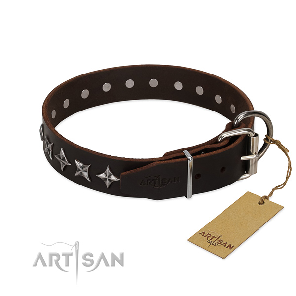 Handy use embellished dog collar of strong genuine leather
