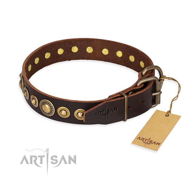 Soft to touch full grain genuine leather dog collar handmade for walking