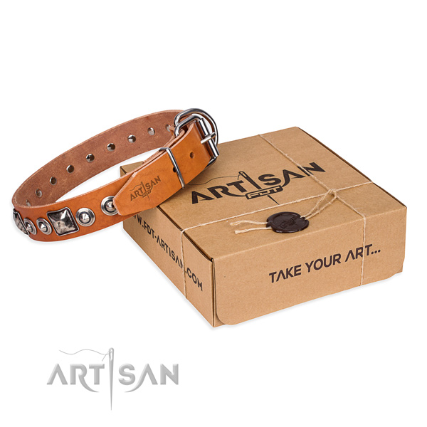 Full grain genuine leather dog collar made of reliable material with corrosion proof D-ring